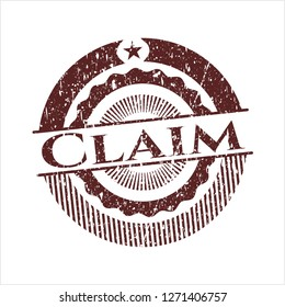 Red Claim distress rubber stamp
