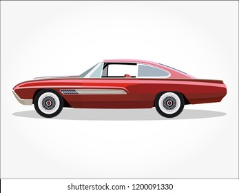 red classic car vector illustration with details