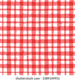 Red classic checkered tablecloth vector pattern. table cloth Seamless background. Paint Lines, ink brush strokes. square stripes Modern paintbrush line.  stripes girly backdrop - Vector