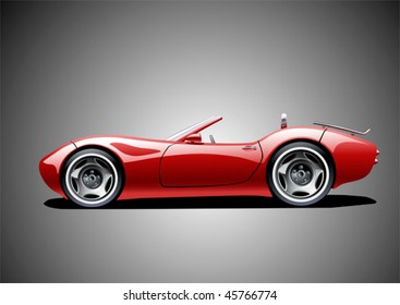 red classic convertible (grey background), vector illustration, original design