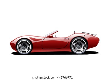 red classic convertible on white background, vector illustration, original design