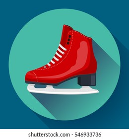 Red classic ice figure skates icon vector. Sport equipment. Side view.