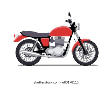 red classic motorcycle design flat style. Isolated on white background