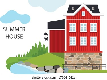 Red classic old typical Swedish house in the forest. Vector illustration. Flat design typical buildings European old houses. Cute design for textile, wallpaper, background.