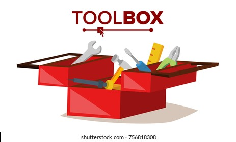 Red Classic Toolbox Vector. Full Of Equipment. Flat Cartoon Isolated Illustration