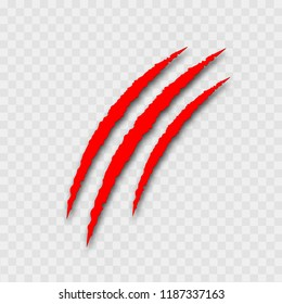 Red claws on transparent background for Halloween. Vector