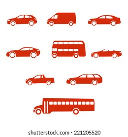 Red clean simple flat set of vehicle silhouettes