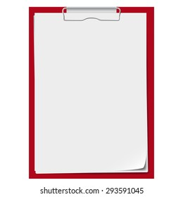 Red clipboard with a few sheets of paper.  Vector image. Realistic style.