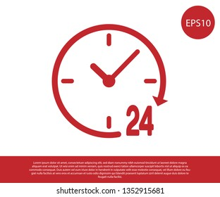 Red Clock 24 hours icon isolated on white background. All day cyclic icon. 24 hours service symbol. Vector Illustration