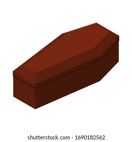 Red closed classical international expensive coffin a wooden casket isometric 3d render. Vector illustration