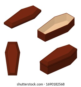 Red closed and opened classical international expensive coffin set a wooden casket isometric 3d render. Vector illustration
