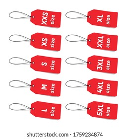 Red Clothing Size Labels - Vector Illustrations - Isolated On White Background