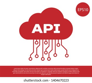 Red Cloud api interface icon isolated on white background. Application programming interface API technology. Software integration. Vector Illustration