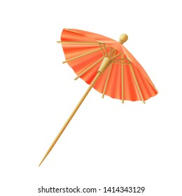 Red Cocktail umbrella for decorate, vector.