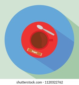 Red coffee cup flat icon with long shadow