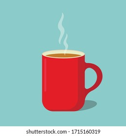 Red coffee cup flat icon isolated on white background. Vector illustration. Eps 10.