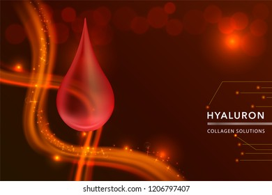 Red Collagen Serum drop, cosmetic advertising background ready to use, luxury skin care ad, vector illustration.