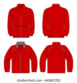 red color autumn fleece jacket and sport jacket set isolated vector on the white background