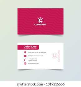Red color business card print template. Personal name card with company logo.