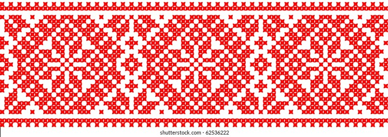 red color embroidered good like handmade cross-stitch ethnic Ukraine pattern