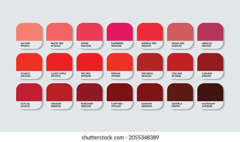 Red Color Guide Palette with color Names. Catalog Samples Red with RGB HEX codes and Names. Metal Colors Palette Vector, Wood and Plastic Red Color Palette, Fashion Trend Pantone Color Palette