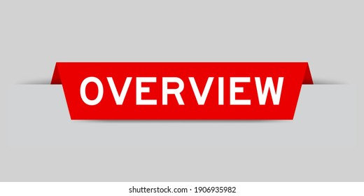 Red color inserted label with word overview on gray background