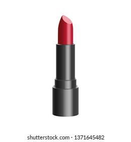 Red color lipstick single object 3d realistic glossy vector illustration