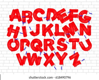 Red color roller brush graffiti alphabet on the old brick white wall background. Vector font set