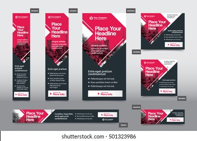 Red Color Scheme with City Background Corporate Web Banner Template in multiple sizes. Easy to adapt to Brochure, Annual Report, Magazine, Poster, Corporate Advertising Media, Flyer, Website.