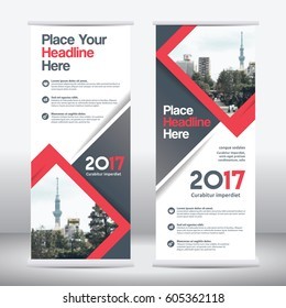 Red Color Scheme with City Background Business Roll Up Design Template.Flag Banner Design. Can be adapt to Brochure, Annual Report, Magazine,Poster, Corporate Presentation,Flyer, Website