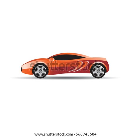 Red Color Sports Car Side Viewvector Stock Vector Royalty Free