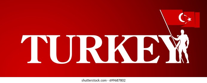 Red color vector illustration holiday banner. Greeting card Turkey National Day. translate: Victory day 30 August Happy. Standard bearer bearing the flag of Turkey Independence
