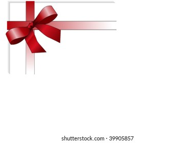 Red colored lanyard with ribbon at the corner of a white paper. Also as vector file available. Size and color can be changed.