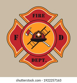 Red colored stylish badge for fire department vector illustration. Colorful label with helmet, axe and ladder. Emergency and firefighting concept can be used for retro template