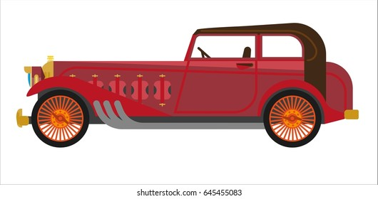 Red colored vintage car