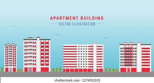 Red Colour Apartment Building. Vector Illustration