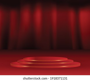 Red colour round podium On Red curtians stage background. Empty pedestal for award ceremony. Stage backdrop.