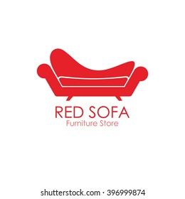 Red comfy sofa business sign vector template for furniture store, home decor boutique design template. vector illustration