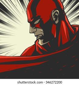 Red comic book superhero. Pop art vector background