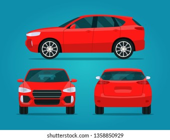 Red compact CUV isolated. Car CUV with side view, back view and front view.  Vector flat style illustration