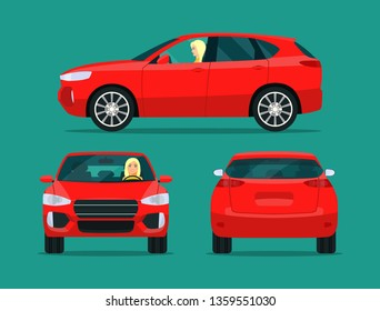 Red compact CUV isolated. Car CUV with driver woman side view, back view and front view. Vector flat style illustration