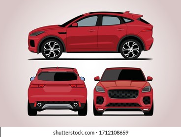red compact SUV,the view from three sides. Jaguar E-Pace.