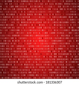 Red computer binary code screen  vector background