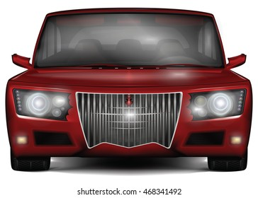 Red concept car. No trademark. Front view. Original design with decorative elements. Vector illustration, isolated on white background.