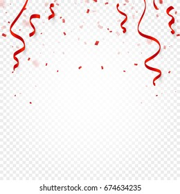 Red confetti, serpentine or ribbons falling on white transparent background vector illustration. Party, festival, fiesta design decor poster element.