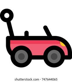 Red control remote toy car icon. Funny remote control car baby vector illustration