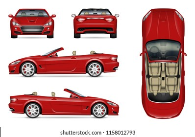 Red convertible car vector mockup on white for vehicle branding, corporate identity. View from side, front, back, and top. All elements in the groups on separate layers for easy editing and recolor