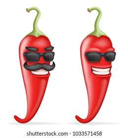 Red cool hot chili pepper sunglasses mustache happy character realistic cartoon 3d design vector illustration