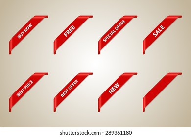 Red Corner Ribbon Set (Best Offer - Sale - Fee - Best Price - Buy Now - New - Special Offer) - Vector Design Element
