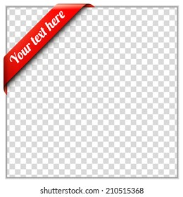 Red corner ribbon template with white paper frame and transparent background. Put your own text and background image. Corner ribbon vector illustration